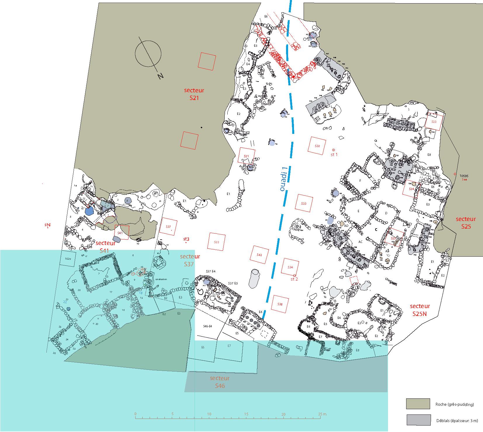 Fig. 1. Plan de la zone de fouille, à la fin de la campagne 2014. En bleu, les secteurs fouillés en 2015