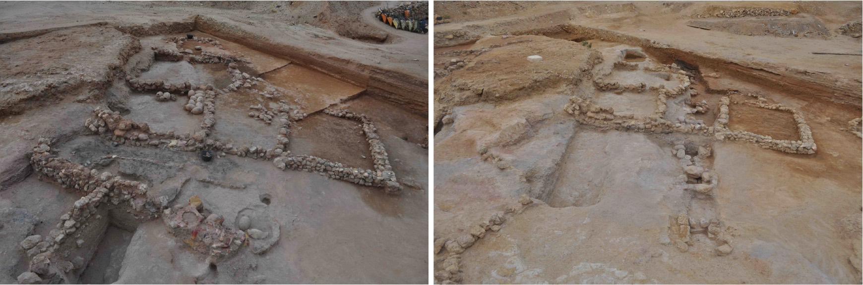 Fig. 3. À gauche, le secteur S41 à la fin de la saison de fouilles 2014 (vue sud-ouest/nord-est). On distingue clairement un atelier de métallurgie et des magasins comprenant des jarres. À droite, le même secteur à la fin de la saison 2015, avec à gauche les deux fosses creusées dans la roche et à droite le « système » lié à l'eau. Une partie des structures de la XIIe dynastie retrouvées l'an dernier est encore en place.